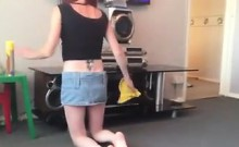 Upskirt As My Girlfriend Cleans The House