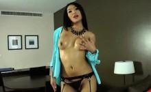 Ladyboy beauty Fanta tasted her own jizz after masturbation