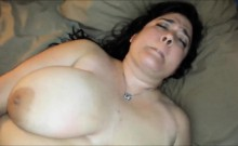 Fat MILF with two huge knockers solo
