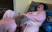 Fat brunette with big titties gets eaten out and fingered by hubby