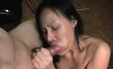 Mature oriental moaning blow job and swallow