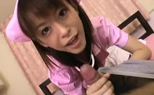 Hot Japanese nurse takes care of a hung patient with her lu