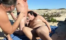 Horny old guy watches his wife getting fucked by another ma