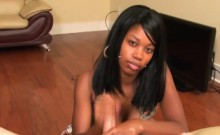 Ebony babe jacking off dick pov