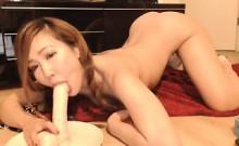 Skinny Japanese girl blows her dildo then fucks it on live