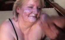 Mature nympho swallowing a big jizz load