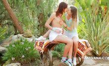 Teen lesbos Ivana and Natasha kissing outdoor