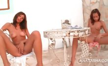 Lesbo Natasha Shy teasing her shaved snatch and tits outdoor