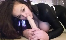 Babe with Huge Tits Dildo Deepthroat and Tit