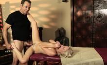 Teen blonde gets massaged