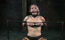 Hotty is tied upside down with her fur pie thrashed