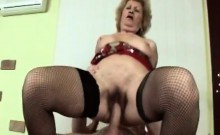 Horny Blonde Granny Gets Down And Dirty With Younger Man
