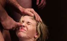 Hot doll gets cum shot on her face eating all the sperm