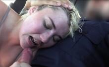 Blonde deep throats cops cock outdoors