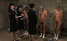 Dirty asian police women sex teasing their male convicts