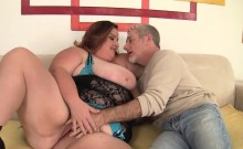 Fat and horny BBW gets her giant tits sucked pussy rubbed