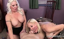 Blonde cougar trio sucking and fucking dicks in group