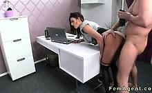 Busty female agent fucked leaned on desk in office
