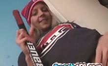 French blonde hottie stripping her hockey jersey