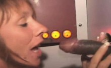 Mature Red Head Sucking Black Dick Through Glory Hole