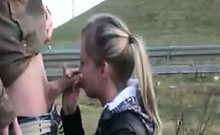 Blonde Deep Throating Outdoors By The Road