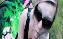 Hot blonde gets a facial cumshot outside by the rad