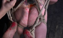 Gagged beauty's pussy is being screwed viciously by hard rod
