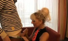 Blond in a suit gets drilled in the home