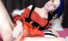 Sexy slim brunette puts on her cute red outfit and makes he