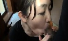 Busty Asian wife gives him head and sits on his throbbing w