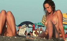 Amateur nude beach voyeur sluts enjoying the warm sun