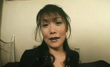 Busty Asian MILF gets felt up and then gives head before sc