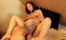 Young slut hard fucked by old horny man in her pussy