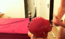 My red masked Slave serving my dick