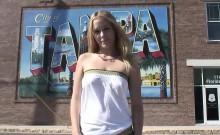 Slender blonde shows off her wares