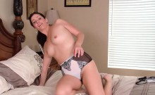 Cute brunette shows off her hairy pussy