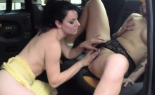 Lesbians toying on fake cab in public