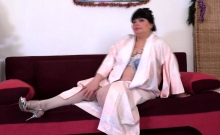 Big mature lady Arina playing with her toys