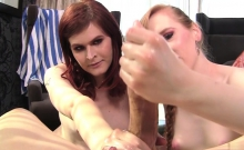 Hot Shemale Threesome And Cumshot