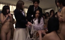 Gorgeous schoolgirl gets bound up and mouth screwed hard