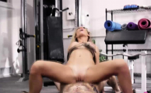 Tattooed babe fucked by trainer until he cums on her tattoo