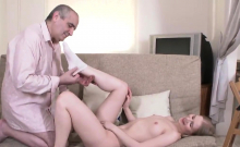 Lovable schoolgirl gets seduced and penetrated by aged instr
