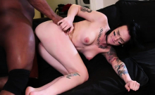 Tattooed punk babe throats and fucked by her black coworker