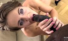 Petite slut casting with a big black dick