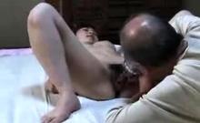Japanese GF hairy pussy fingering