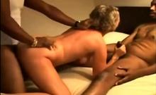 Hardcore interracial threesome cum